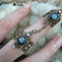 double armor ring chained ring harlequin blue nail ring claw ring nail tip ring knuckle ring vampire goth victorian goddess pagan boho gypsy