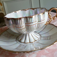 Antique Royal Sealy pearl white lusterware footed tea cup and saucer, tea set, wedding gift