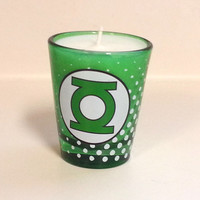 Green Lantern Soy Candle - Green Shot Glass - CHOICE OF SCENT