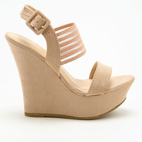 NUDE VARSITY STRIPES WEDGES