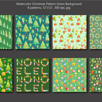 Watercolor Christmas pattern green theme digital background instant download