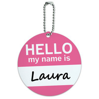 Laura Hello My Name Is Round ID Card Luggage Tag