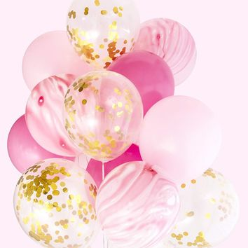PINK MARBLE BALLOONS-Princes Balloons Bouquet, Gold Confetti Balloons, Mix Pink Balloons, Girls Baby Shower Balloon, Girls Party Balloons,