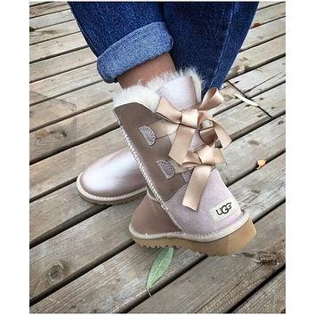 UGG Fashion Winter Women Man Cute Bowknot Flat Warm Snow Ankle Boots Shoes-4