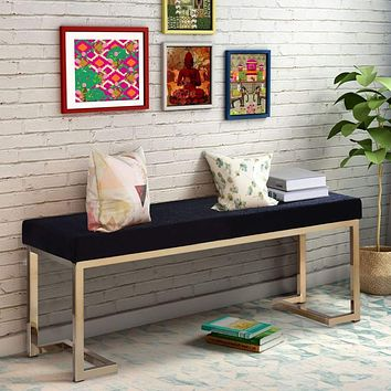 """40"""" Modern Bench with Metal Base and Cushioned Seat, Black and Gold By ACME"""