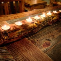 Log Candle Holder Centerpiece Trending Gift Ideas, Rustic Home Decor