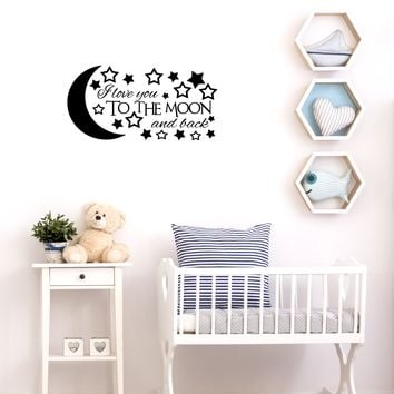 """I love you to the moon and back - 22"""" x 11"""" - vinyl wall decal sticker art"""