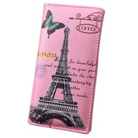 Women Long Wallet Smooth PU leather Paris Flags Eiffel Tower Style Lady Coin Purses Clutch Wallets Money Bags