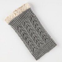 Crochet Trim Boot Cuff Socks Charcoal One Size For Women 26658611001