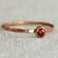 Dainty Copper Garnet Ring