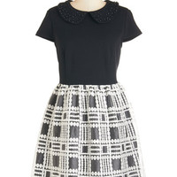 Kensie Mid-length Short Sleeves A-line Conference Cutie Dress
