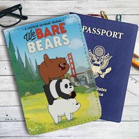 We Bare Bears Leather Passport Wallet Case Cover