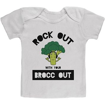 Vegetable Broccoli Rock Out With Your Brocc Out Funny Baby T Shirt