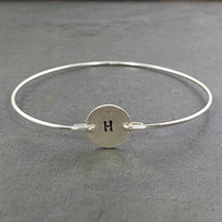 Personalized Monogram Initial Bracelet Letter H - 925 Sterling Silver