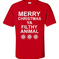Merry Christmas Ya Filthy Animal Funny Tee Inspired By Home Alone Awesome XMAS Gift Unisex