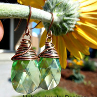 Peridot crystal and copper wire wrapped earrings. Copper and green jewelry