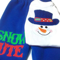 Baby Boy Christmas Outfit, Snowman Baby Clothes, Boys Holiday Clothing, Blue Snowman, Baby Boy Snowman Clothes,Size 3 - 6 Month Baby Boy