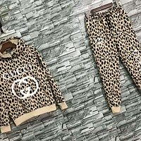 GUCCI New fashion letter print leopard print sports leisure hooded long sleeve top sweater and pants two piece suit