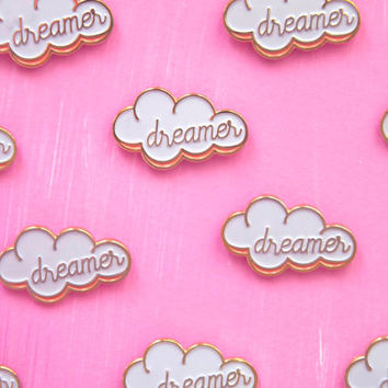 "Head in the Cloud Dreamer 1"" Enamel Pin - Gold White and Pink Cute Lapel Pin"