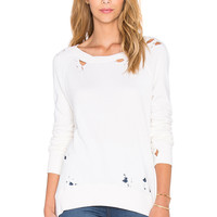 Pam & Gela Annie Destroyed Sweatshirt in Vanilla Bean