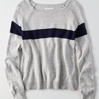 AEO Easy Striped Sweater, Gray