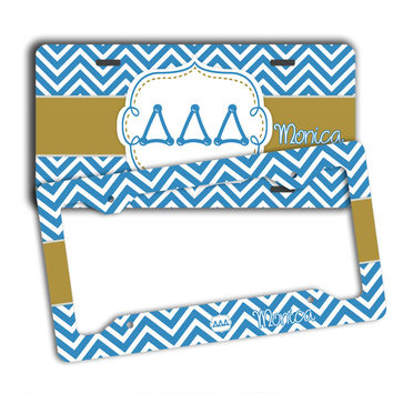 DELTA DELTA DELTA - THIN BLUE CHEVRON WITH GOLD - TriDelta LICENSE PLATE