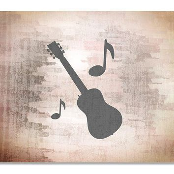 Guitar with Musical Notes Print Wall Art
