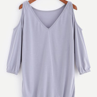 Grey V Neck Open Shoulder T-shirt