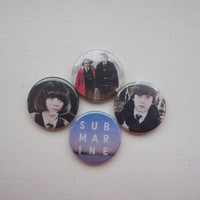 Submarine (Oliver Tate and Jordana Bevan) badges/ pins/ buttons