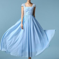 High Quality Light Blue High Waist Lace Chiffon Maxi Dress