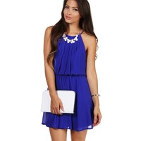 Blue Soft Pleats Dress