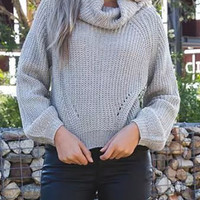 Gray High Roll Neck Long Sleeve Knitted Sweater