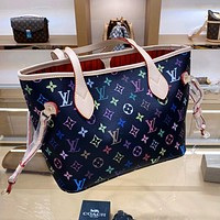 LV simple colorful letter print tote bag letter bag two-piece set
