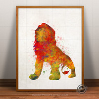 Lion King Print Watercolor, Mufasa Poster, Disney Art, Illustration, Watercolour, Giclee Wall, Artwork, Comic, Fine, Home Decor