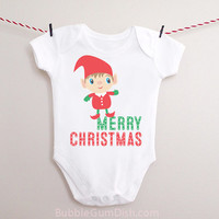 Christmas Elf Outfit Merry Christmas Baby Bodysuit OnePiece Baby Holiday Outfit for Babies & Toddlers