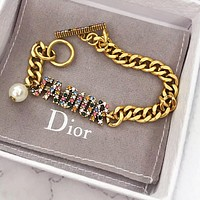 DIOR Woman Men Luxury Colorful Alphabet Diamond Bracelet Hand Catenary Jewelry Accessories