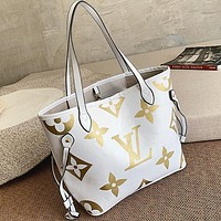 LV Louis Vuitton LV Newest Fashionable Women Shopping Bag Leather Shoulder Bag Handbag Satchel White