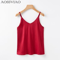 Women Camis Silk Crop Top Women Camisole 2018 Summer Style Sexy Sleeveless Vest Slim White Halter Tank Top Roupas Femininas
