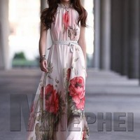 Summer Style Elegant Lotus Leaf Big Hem Chiffon Maxi Dress