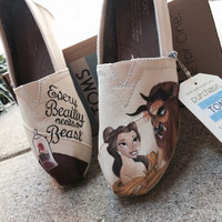 Custom Hand Painted Toms - Disney Toms - Beauty and the Beast Toms