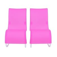 2pcs Rocking Beach Lounge Chair Living room Garden Furniture for Barbie Doll Accessories Toys For Children
