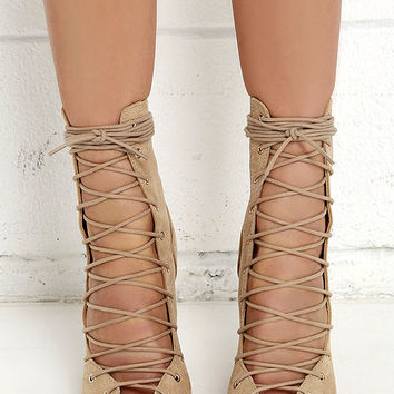 Chic Stride Beige Suede Lace-Up Booties