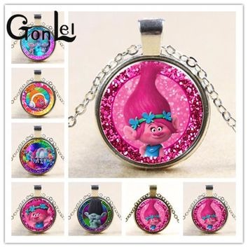 GonLeI New Arrived DreamWorks 60CM Silver/Bronze Color Trolls Glass Pendant Chain Necklace for Kid Dress Up Action Figures Toys