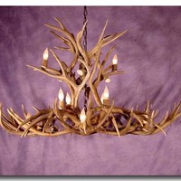 LARGE MULE DEER CHANDELIER---OBLONG