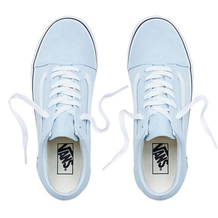 Image of Vans Stylish Simple Leisure Canvas Old Skool Flats Sneakers Sport Shoes Light Blue I