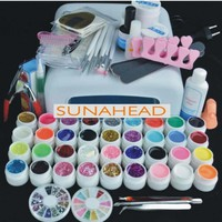 36W UV Lamp +36 Color UV/LED Gel lacquer + nail extensions gel Clean brushes Cutter files all for nail tools