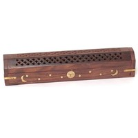 Incense Burner - Wooden Box with Storage - Moon and Star