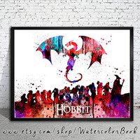 The Hobbit Watercolor Print, watercolor painting, watercolor art, Hobbit art,The Hobbit poster,Lord of the Rings art,Lord of the Rings print