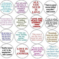 Set of 16 JOHN LENNON QUOTES Pinback Button 1.25 Pin / Badge The Beatles