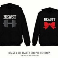 365 In Love His and Her Matching Hooded Sweatshirts Beauty and Beast Couples Hoodies